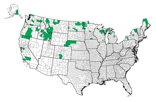 Карта производства семенного картофеля в США